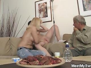 He Finds His Pigtailed Brunette Gf Riding Old Cock