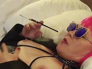 Hot Milf Holder Smoking Vs Superslim Menthol Pink Wig