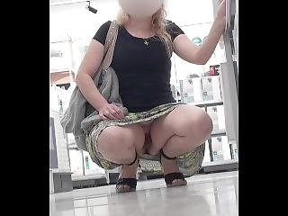 No Panties Upskirt At Shops