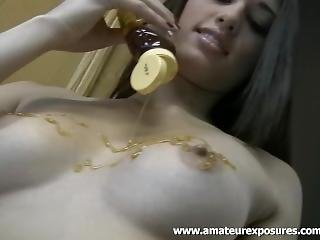 Tiffany Thompson Pours Honey All Over Those Amazing Tits!