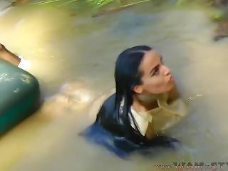 V-363. Lola In Satin Suit Swims In The Lake