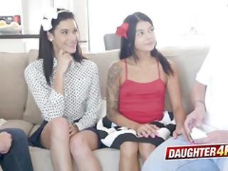 Eden Sin And Sadie Pop Petite Small Teen Stepdaughters Want Foursome With Stepdaddie