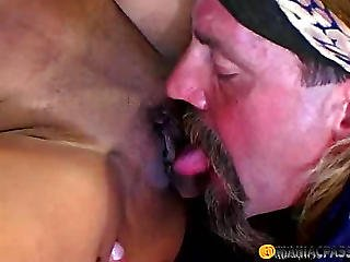 A Guy With A Beard Licks Her Pussy
