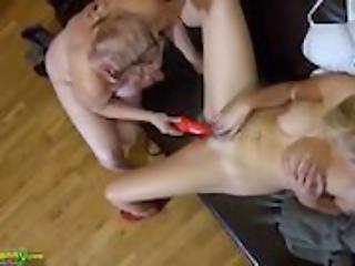 OldNannY Old Chubby And Teen Lesbian Masturbation