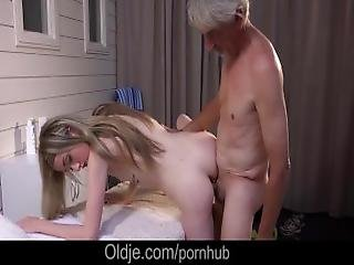Skinny Dry Grandpa Wished For Sex By Two Young Nymphos