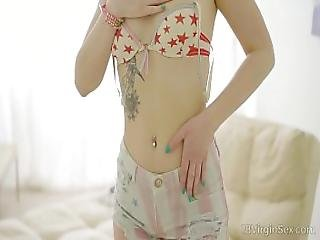 18 Virgin Sex - Carolin Sits Back Naked On A Cozy Sofa
