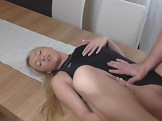 Swimsuit Babe Fucked On The Table