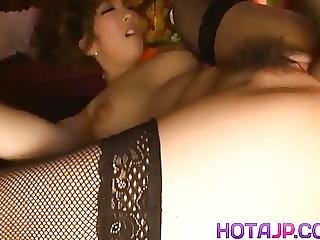 Aiko Nagai In Latex Puts Cock In Chains Sucks And Fucks It