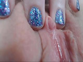 Chipped Fingernail Polish Closeups And Glass Dildo Orgasm