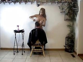 Nude Hairstylist Cutting Her Clients Hair