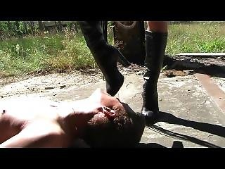 Blond Girl Dominates Guy Outdoor