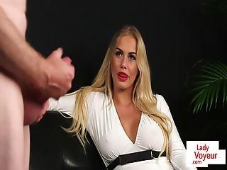 Busty European Voyeur Watches Her Sub Tug