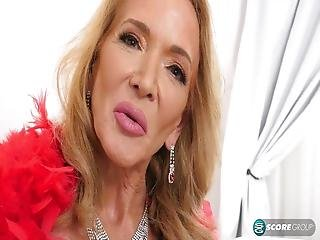 60 Years Older Woman Showes Big Dildo