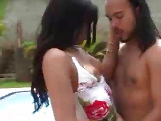 A Shemale And Her Man Fucking By The Pool