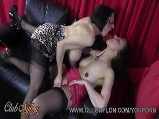 Horny Lesbian Milfs Lick Big Boobs Juicy Pussy And Wank Off In Nylon Stockings And Sexy Lingerie