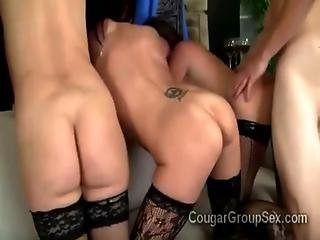 3 Cheating Housewives Get Together To Devours 1 Hefty Young Dick