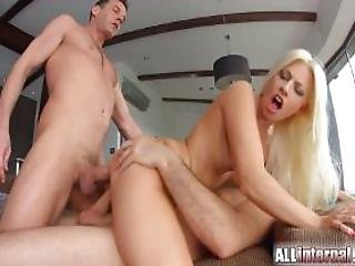 Sexy Blonde In Creampie Threesome Fun