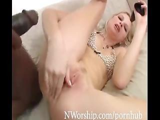White Teen Threesome Interracial Anal Two Big Black Cocks