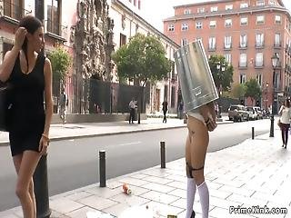 Natural Big Tits Spanish Slave Chiara Diletto With No Panties Disgraced In Public Streets With Trash Cane On Her Head Then Anal Fucked