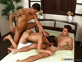 Babe Fucks With The Guys On A Wide Bed