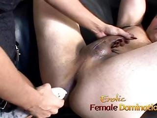 Beautiful Brunette Dominatrix Makes Her Slave Cum After Some Pegging-6