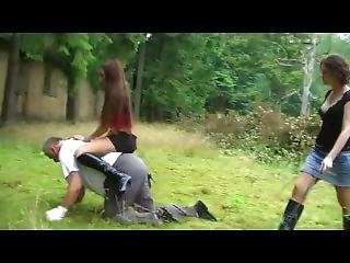 Slave Training By 2 Beautiful Booted Mistress