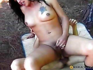 Sweet Brunette Anal Fucks Guy Friend