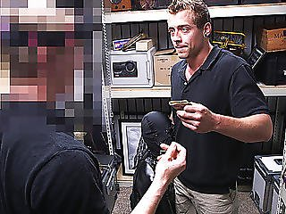 Huge Dick Guy Gets Anal Banged In The Pawnshop By Two Guys