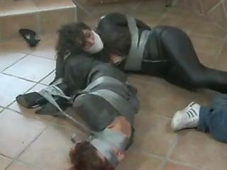 The Big Hit - Taped Up Milfs In Leather Skirt And Catsuit [with Sound!]