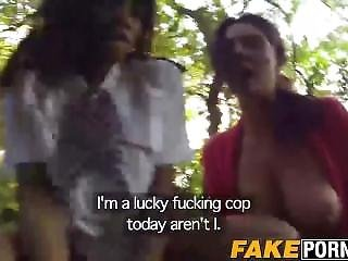 Two Kinky Chicks Kiki And Emma Enjoy A Threesome With A Cop