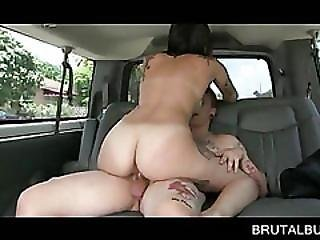 Tattooed Amateur Riding Shaft In The Sex Bus