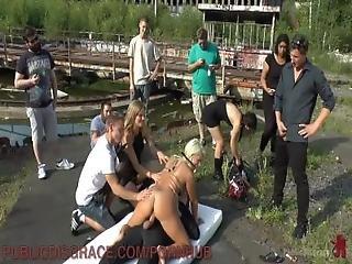 Blonde Slut Fucked Publicly To Lowest Bidder