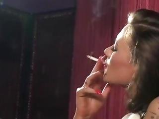 Becky Holt Stunning All White 120s Red Lipstick Smoking In Lingerie
