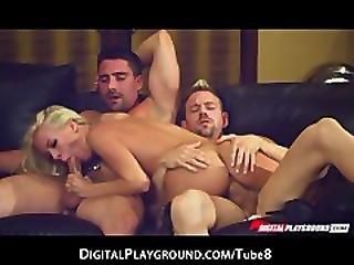 rubia, blowjob, acercamiento, pene, gangbang, hambriento, orgasmo, patio de recreo, puta, threesome