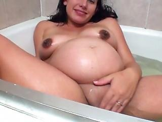 Sexy Preggo Plays With Her Fat Pussy In The Tub