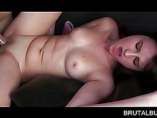 Hot Brunette Laid On The Backseat And Fucked