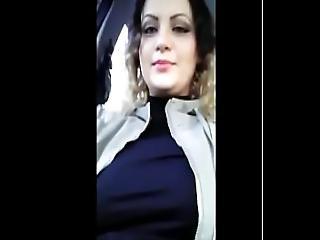 Exhibitionist Anabellaxxx1 Show Boobs In Car When People Walk On Street
