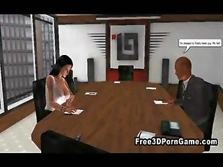 Foxy 3d Cartoon Brunette Sucking A Cock At The Office
