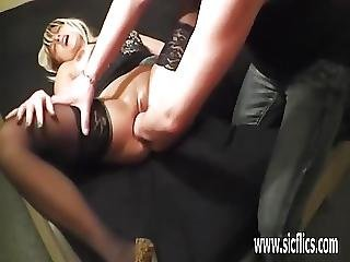 Blond Milf Fucking A Wine Bottle And Fisted