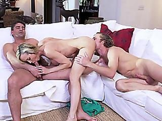 Lucky Milf Brandi Love Sucks Two Huge Cocks In One Shot