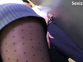 Sexiz.net - 825-sw 338 One Man In The Only Department Female Employees Underwear That Is Transparent From Black Pantyhose Invites My Erection-sw-338.1