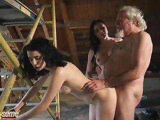Old Man Puts His Cock Inside Two Hot Young Teens