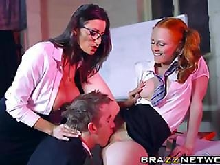 Sexy Teacher Sensual Jane And Student Ella Sharing A Prick