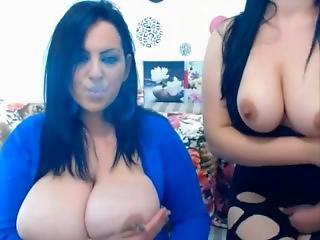 Huge Tits Babe Smoking
