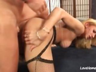Ladyboy in black stockings fucking a horny man