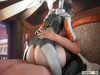 Sexy Ass Blonde Overwatch Babe Called Mercy Enjoying Doggystyle, Cowgirl And Missionary Pussy Drilling Session