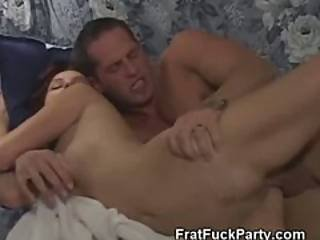 Brunette College Girl Fucked From Behind On Frat House Sofa