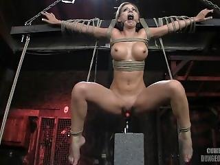 Athena Angel Suspended Over Fucking Machine
