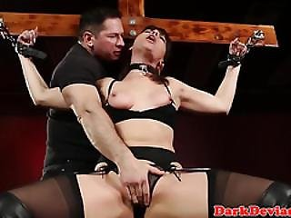 Choked Submissive Skank Licking Balls