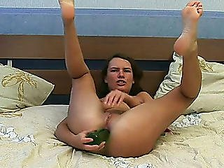 Wanton Brunette Bitch Inserts Green Bottle In Her Tight Ass Hole